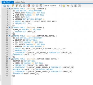 MySQL create tables